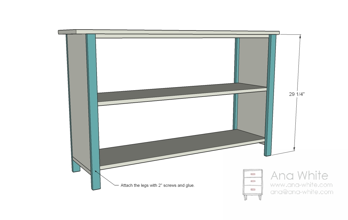 Simple Bookshelf Plan - Screw the legs on