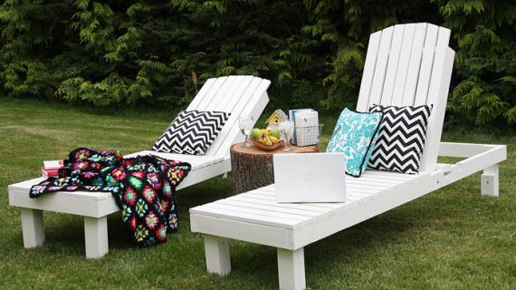 wood chaise lounges built from plans and painted white