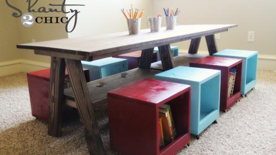 kids play table plans with storage shelf