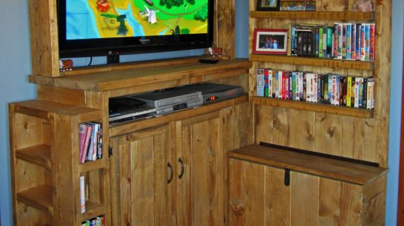 Rustic Entertainment Center with Toy Storage