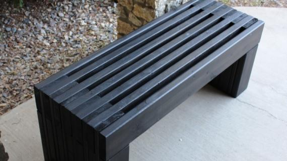 modern slat top wood outdoor bench