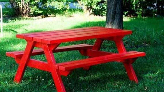 picnic table painted red