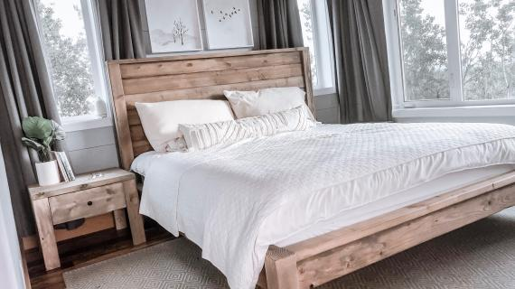 modern farmhouse wood bed frame