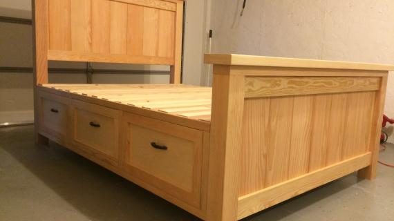 farmhouse bed with storage drawers