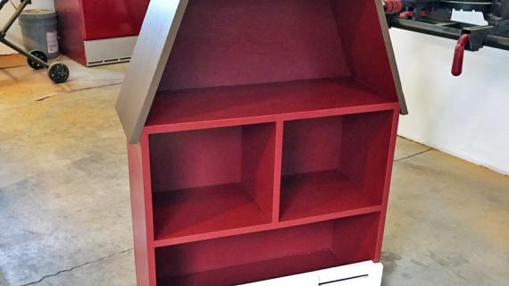 barn shaped bookshelf