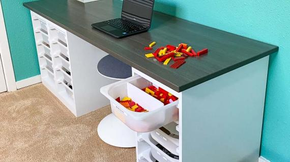 DIY desk with storage bins