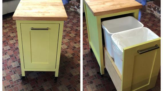 double pull out trash kitchen island