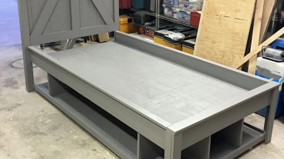 rustic farmhouse storage bed grey paint