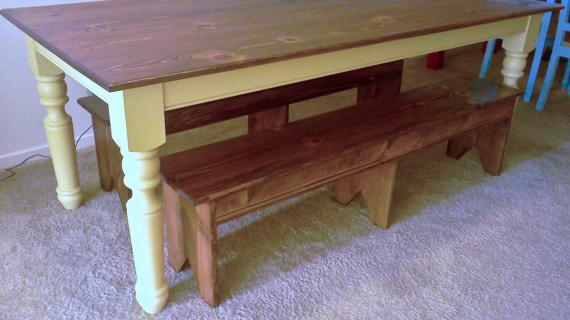 Turned leg farmhouse table with bench