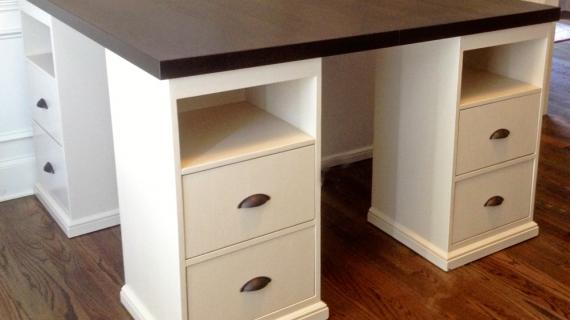 desk for four island with storage