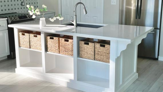 kitchen island with open shelving