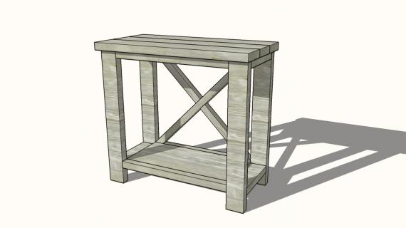 dimensions of the small rustic x console