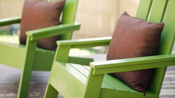 modern adirondack chairs painted green