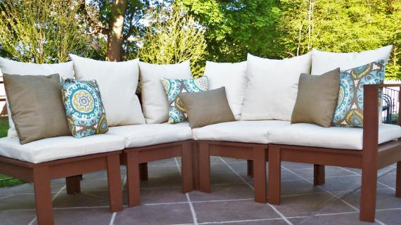 white cushions on a brown outdoor sectional farmhouse style feel