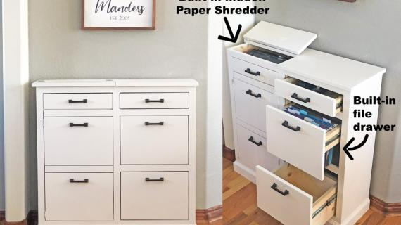 paper shredder cabinet with file folder drawer