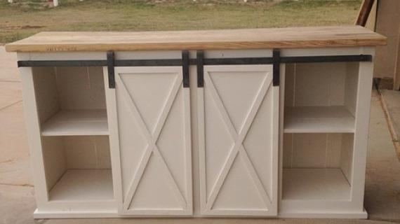 ana white barn door console