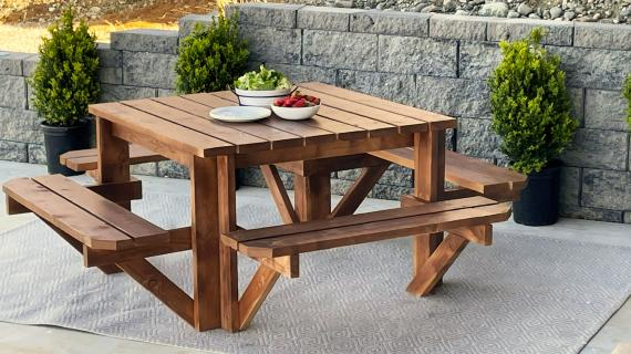 square picnic table plans