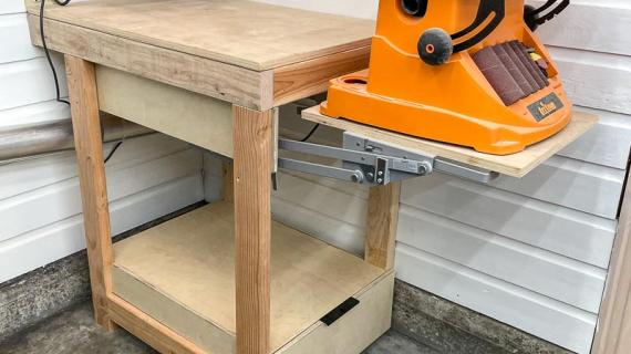 tool stand with benchtop sander