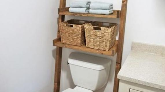 over toilet bathroom storage ladder shelf