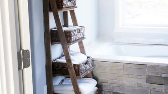 wooden ladder shelf
