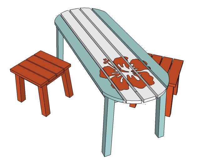 Bench Seats for Child Surf Board Outdoor Table | Ana White