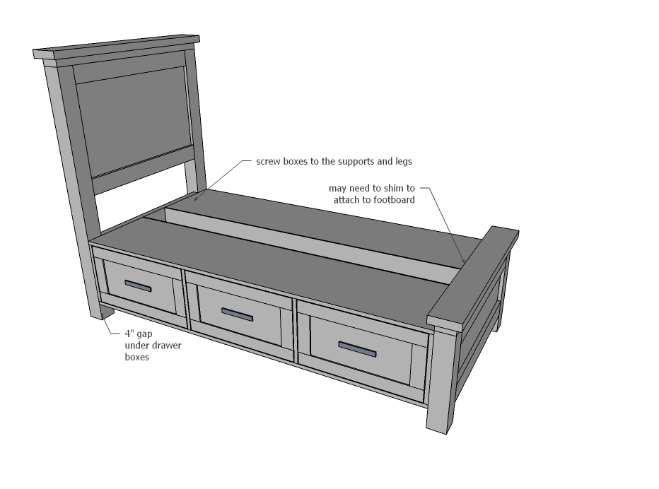 Farmhouse Storage Bed With Drawers, Ana White Twin Storage Bed