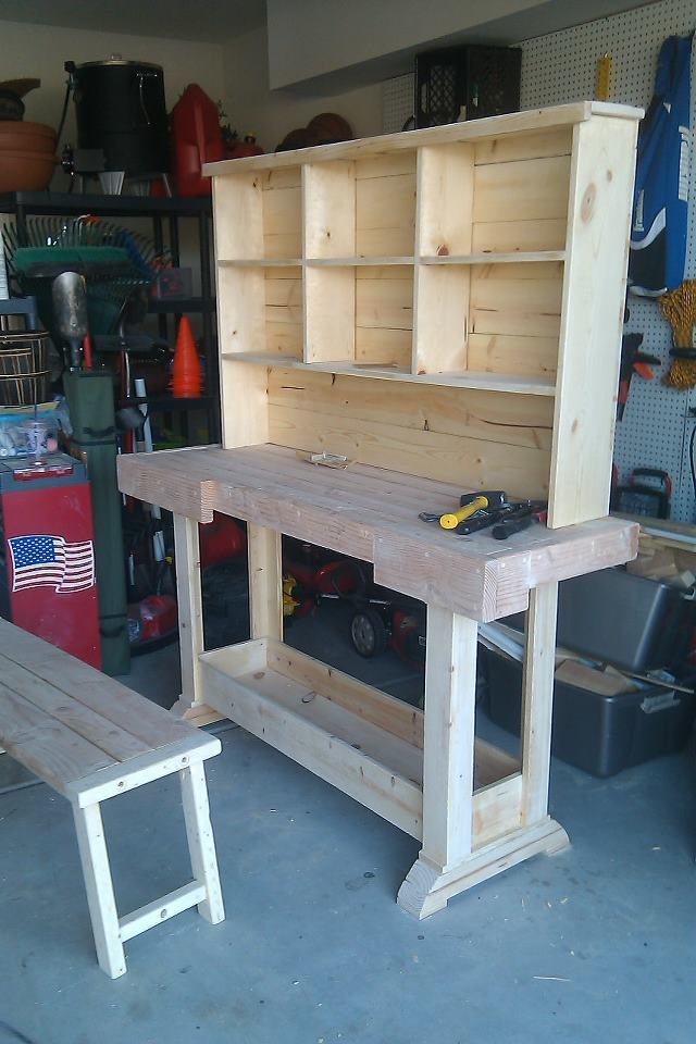 Ana White | Markham Workbench Console and Rustic Hutch - DIY Projects