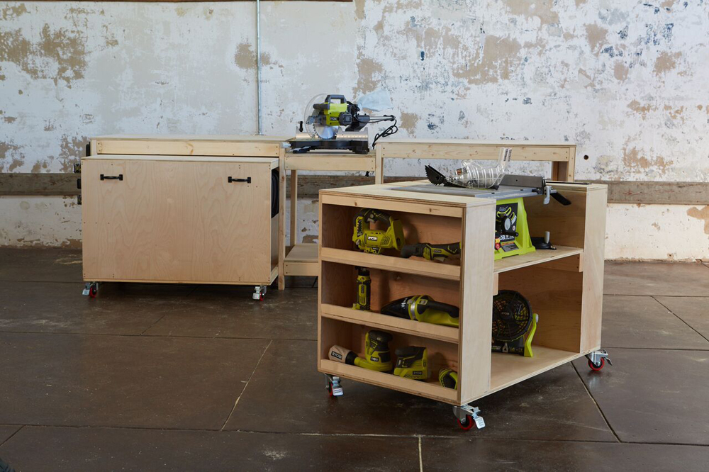 workbench with one cart out